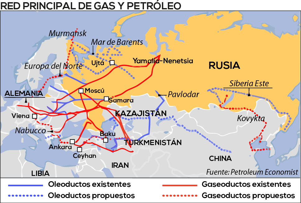 Oleoductos y gaseoductos desde Asia Central