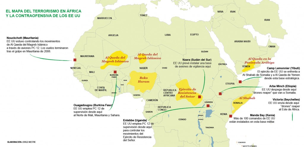 Mapa del terrorismo en Africa por Jorge Mestre Primavera Arabe Al Qaeda