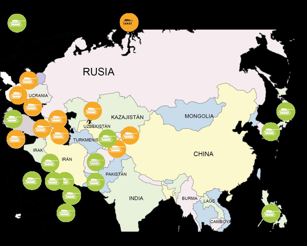 Bases militares de EE UU y Rusia en Oriente Medio y Asia Central